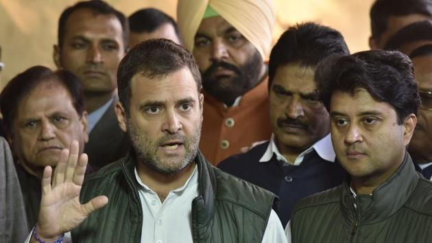 Congress president Rahul Gandhi addresses the media during the winter session in Parliament in New Delhi, on Tuesday.(Sanjeev Verma/HT Photo)