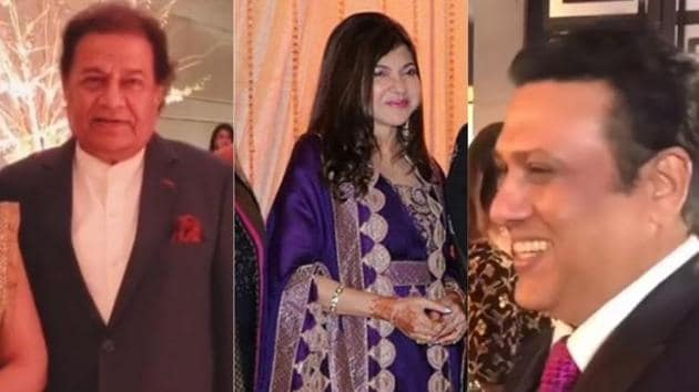 Anup Jalota and Govinda were spotted at Alka Yagnik's daughter's wedding reception in Mumbai.(Viral Bhayani)