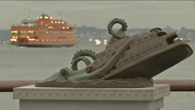 It all started in 2016 with a bronze statue commemorating the tragic day in November 1963 when a giant octopus upended the Staten Island ferry, killing nearly 400 people in New York.(Joseph Reginella/Facebook)