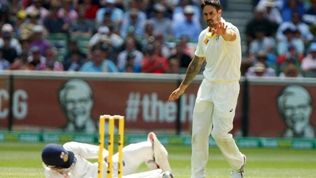 Virat Kohli is down on the ground after being hit by Mitchell Johnson.(Getty Image)
