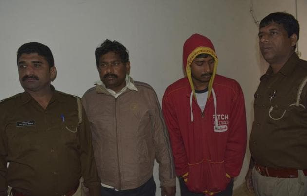 A father son duo were arrested for harassing a minor boy, at Sihani gate police station, in Ghaziabad(Sakib/ HT Photo)