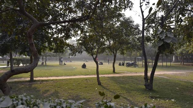 A view of public park at Sector 58, in Noida, India, December 25, 2018. Police in Sector 58 of Uttar Pradesh's Noida have asked companies in the industrial hub to ensure their employees do not use a park for any religious activity, including offering namaz on Fridays.(Virendra Singh Gosain/HT PHOTO)