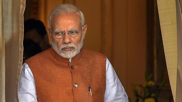 Prime Minister Narendra Modi, on his visit to Odisha on Monday, addressed a political rally in Khurda where he slammed the state government without mentioning the chief minister or the BJD directly.(PTI)