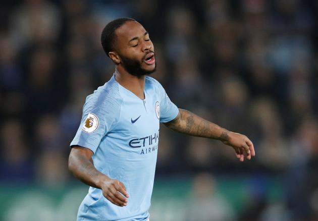 Manchester City's Raheem Sterling reacts during the Premier League match against Leicester.(Reuters)