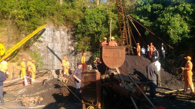 Rescue operations underway at the Meghalaya mining accident site.(HT Photo)
