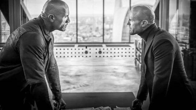 Dwayne Johnson and Jason Statham in a still from the upcoming Fast & Furious spin-off.