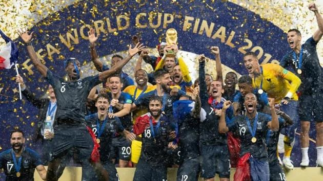 The team of France celebrates with the World Cup trophy after the 2018 FIFA World Cup Final between France and Croatia at Luzhniki Stadium on July 15, 2018.(Getty Images)