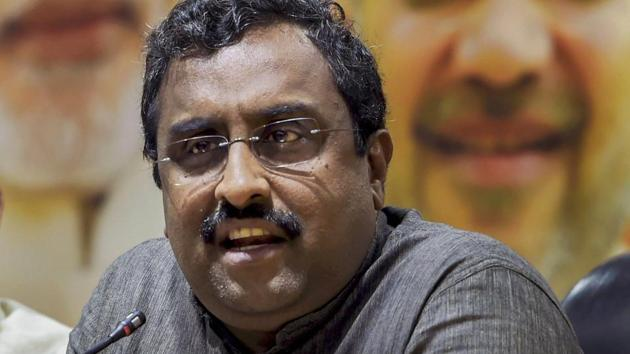 Ram Madhav addresses a press conference in New Delhi.(PTI File Photo)