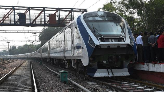 Train 18, India's first indigenously built engine-less train, has officially become the country's fastest hurtling at a speed of 180 kilometres per hour during a trial run.(Mohd Zakir/HT PHOTO)