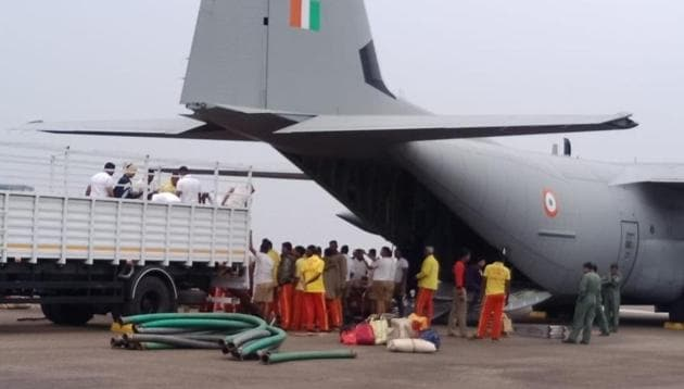 An Odisha team left on Friday morning in a special aircraft of the Indian Air Force with 20 high-power pumps to assist in rescue operation in Meghalaya for 15 miners trapped for past 15 days.(Photo courtesy Fire Department , Odisha)