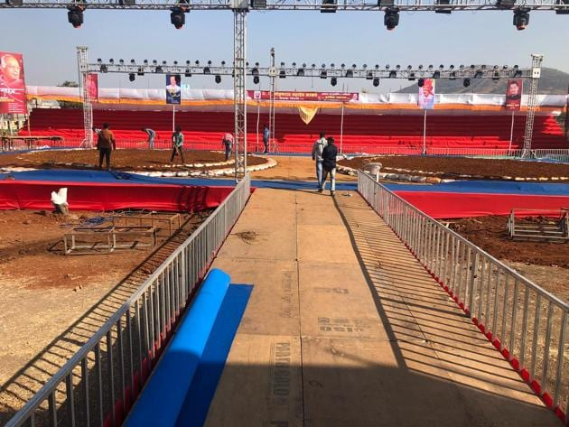 Wrestling arena at Somatane Phata, Talegaon is all set for the National Mud Wrestling Championship to begin on Saturday.(HT/PHOTO)