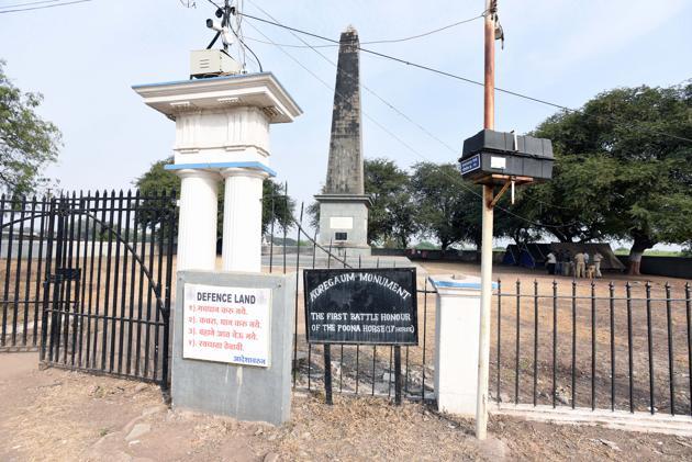 Victory Pillar at Bhima Koregaon in Pune.(Pratham Gokhale/HT Photo)