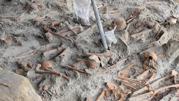 Human skulls are seen at a site of a former war zone in Mannar, Sri Lanka November 27.(REUTERS)