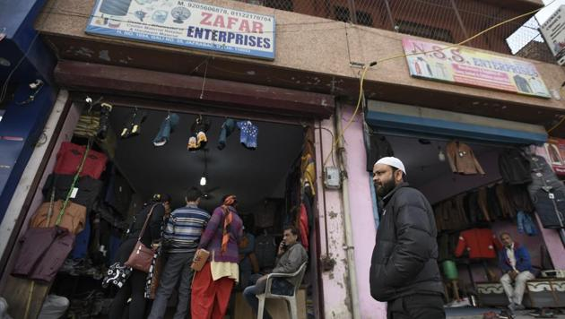 A shop owned by one of the accused among 10 people who were arrested by National Investigation Agency (NIA) officials for alleged links with an ISIS module, at Jafrabad, in New Delhi, India, on Thursday.(Burhaan Kinu/HT File PHOTO)