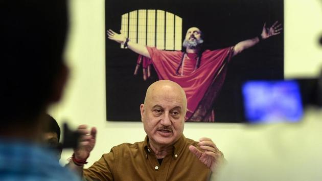 Bollywood actor Anupam Kher addresses a press conference which he had called after Maharashtra Youth Congress asked for a screening of the film prior to its release, a demand they later withdrew, in Mumbai on December 28.(PTI Photo)