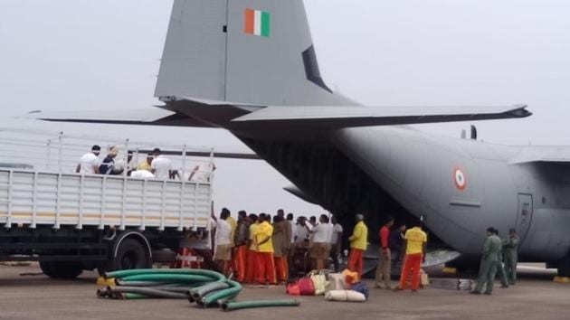 An team of rescuers from Odisha left on Friday morning in a special aircraft of the Indian Air Force with 20 high-power pumps to assist in rescue operation in Meghalaya for 15 miners trapped for past 16 days.(Photo courtesy Fire Department , Odisha)