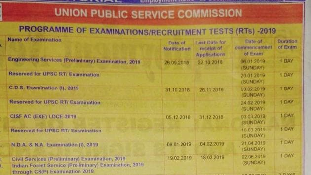 UPSC 2019 calendar has been released on upsc.gov.in(Employment news)