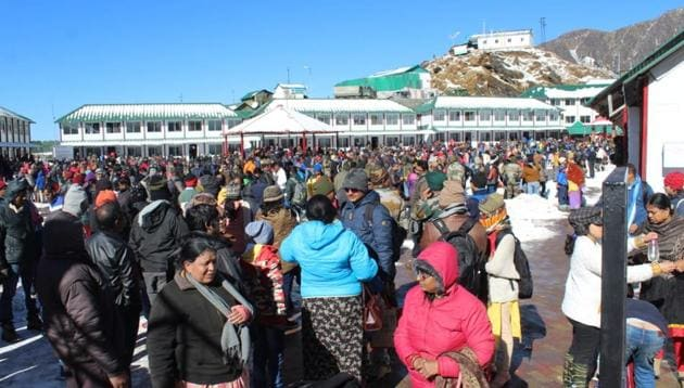 Rescued tourists in army facility in Sikkim.(HT photo)