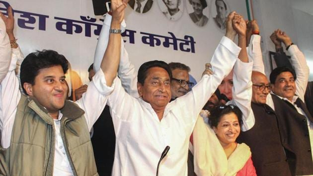 Madhya Pradesh chief minister Kamal Nath distributed portfolios to his cabinet Friday evening(PTI)