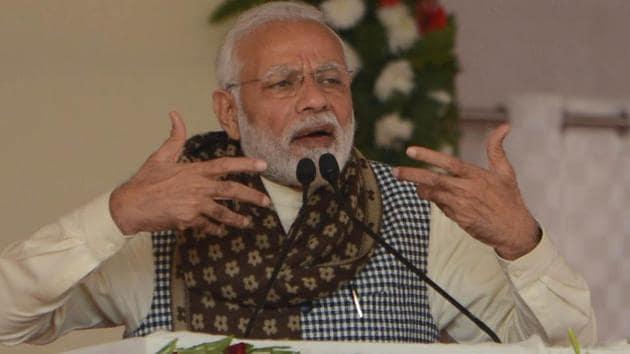 Prime Minister Narendra Modi addresses a public rally, in Ghazipur on December 29.(HT Photo)
