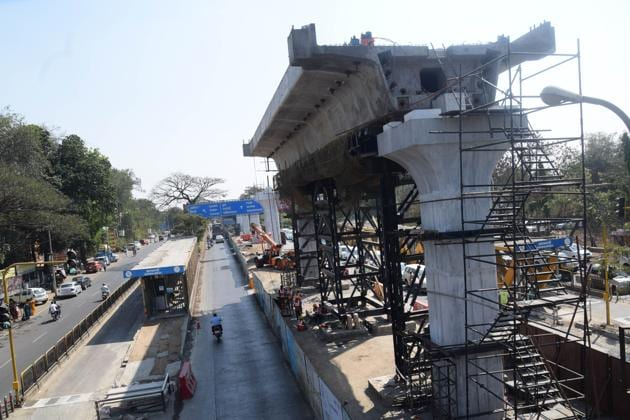 The work for the Metro is underway in many parts of the city.(HT Photo)