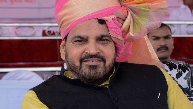 Brijbhushan Sharan Singh, president of Wrestling Federation of India at Somatane Phata in Pune on Sunday.(Milind Saurkar/HT Photo)