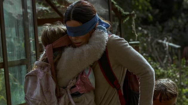 Sandra Bullock in a still from Netflix's Bird Box.(Saeed Adyani/Netflix)