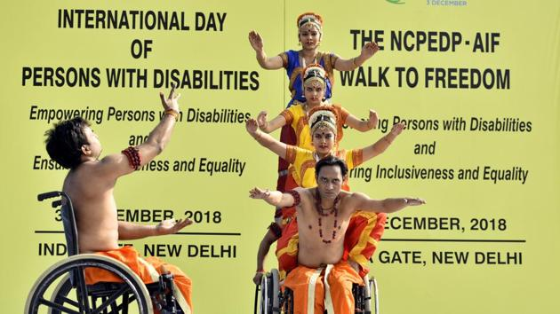 Differently abled artists perform during an event on the occasion of International Day of Disabled Persons, New Delhi, December 3, 2018. Is there anything left worth hoping for? Ask the disabled people who only manage to participate marginally in systems that are not build conducive to them, but do it every day.(Amal KS/HT PHOTO)