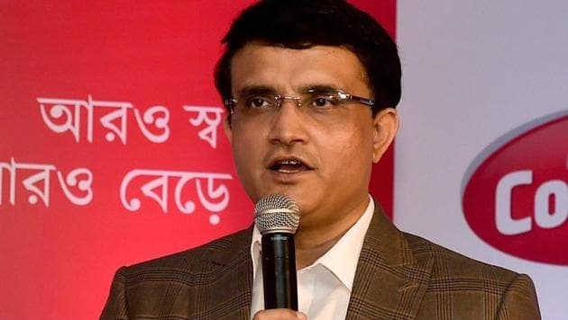 Sourav Ganguly addresses during a promotional event in Kolkata.(PTI)