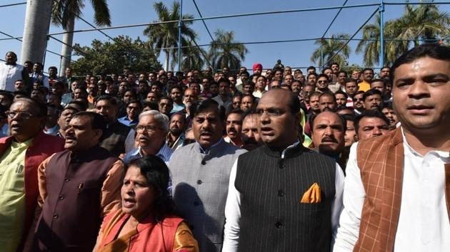 Bharatiya Janata Party (BJP) workers hold protest against Madhya Pradesh chief minister Kamal Nath's decision to discontinue the 13-year-old practice of singing Vande Mataram at the state secretariat, near Vallabh Bhawan, in Bhopal on Wednesday.(Mujeeb Faruqui/HT Photo)