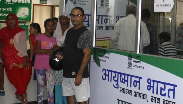 Ayushman Bharat, billed as world's biggest public health scheme, provides annual health cover of Rs 5 lakh per family to 107.4 million poor and vulnerable families.(Yogendra Kumar/HT File Photo)