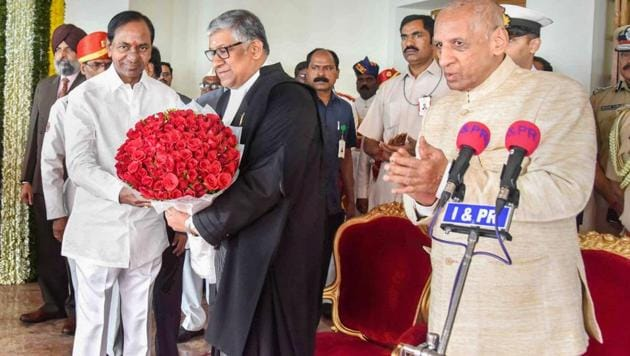 In Hyderabad, justice Thottathil Bhaskaran Nair Radhakrishnan (pictured) was sworn in as Telangana high court's first chief justice to mark the bifurcation. Justice C Praveen Kumar took oath as Andhra Pradesh's acting chief justice in Vijayawada.(PTI)