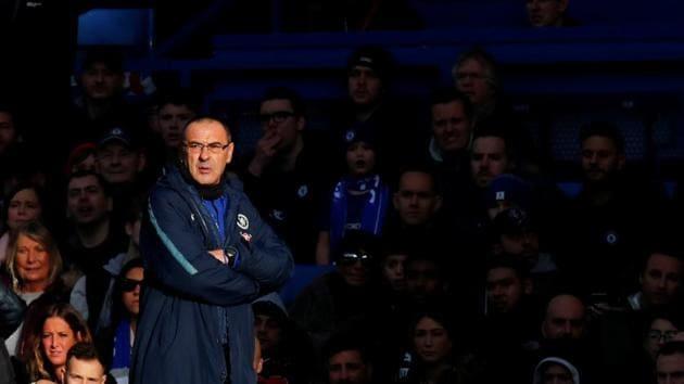 Chelsea manager Maurizio Sarri looks on.(REUTERS)