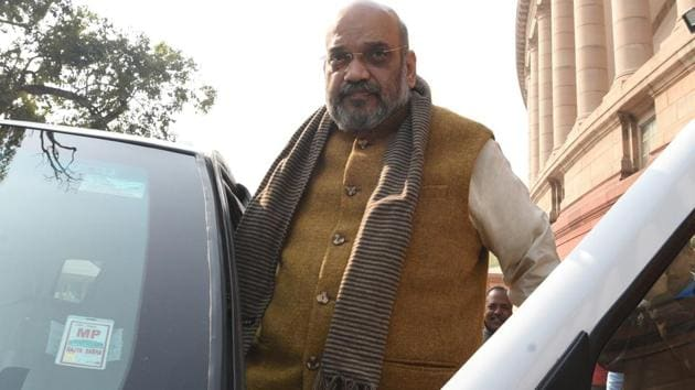 """Calling Madhya Pradesh the """"heart of Hindustan"""", Amit Shah alleged that the decision of the Kamal Nath government was politics of """"appeasement"""".(Sonu Mehta/HT Photo)"""