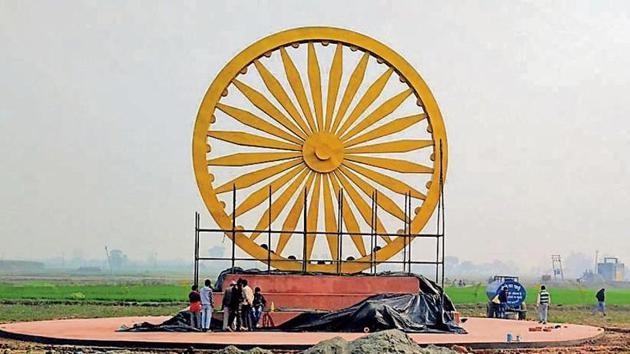 Replica of Ashok Chakra ready for inauguration in Topra Kalan village in Yamunanagar.(HT Photo)