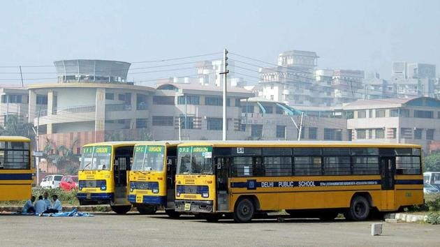 Gurugram police have asked the schools' management to ensure the buses are parked properly and at designated spots, else strict action would be taken against them.(HT File)