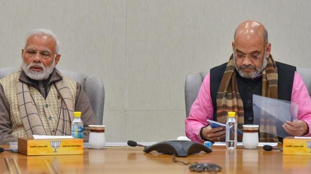 BJP President Amit Shah during BJP Parliamentary Board meeting after recent Assembly election results, in New Delhi, Thursday, January 3, 2019.(PTI)