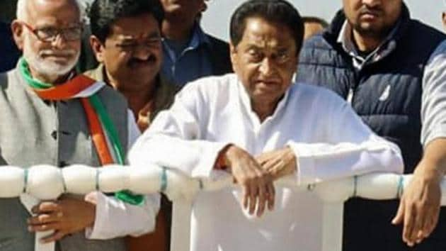 BJP workers had protested against the MP chief minister Kamal Nath's decision to discontinue the 13-year-old practice of singing Vande Mataram at the state secretariat.(PTI)