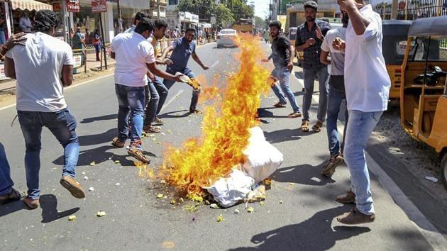 BJP workers burn an effigy of Kerala chief minister Pinarayi Vijayan during a protest over the Sabarimala issue, in Kanyakumari, Thursday, Jan 03.(PTI Photo)