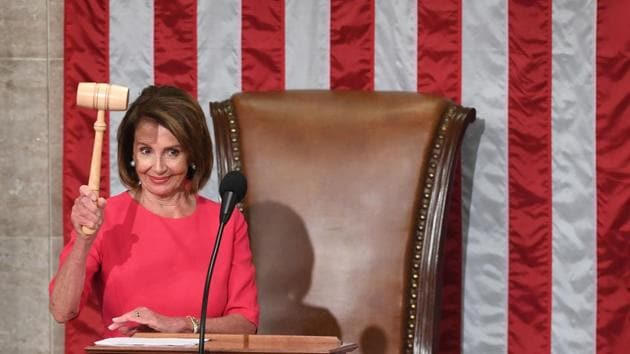 New Speaker of the US House of Representatives Nancy Pelosi, D-CA, holds the gavel during the opening session of the 116th Congress at the US Capitol in Washington DC.(AFP)