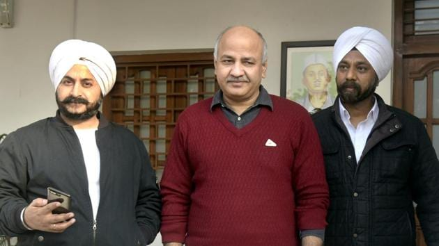 Deputy Chief Minister Manish Sisodia seen with other AAP MLAs during Delhi Assembly session, at Delhi Vidhan Sabha, in New Delhi, on Thursday, January 3, 2019.(Sushil Kumar/HT PHOTO)