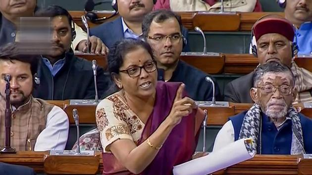 Defence minister Nirmala Sitharaman speaks during the discussion on issues relating to Rafale deal, in the Lok Sabha in New Delhi.(PTI Photo)