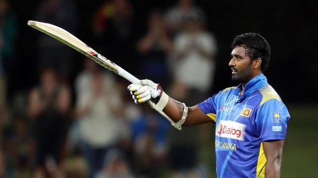 Sri Lanka's Thisara Perera celebrates scoring a century (100 runs) during the second one-day international cricket match between New Zealand and Sri Lanka at Bay Oval in Mount Maunganui on January 5, 2019(AFP)