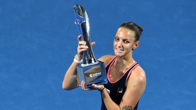 The Czech Republic's Karolina Pliskova poses with the winner's trophy.(AFP)