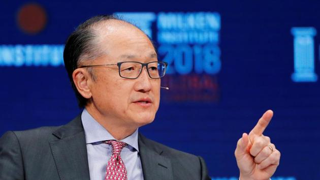 Jim Yong Kim, President of the World Bank Group, speaks at the Milken Institute 21st Global Conference in Beverly Hills, California, US, May 1, 2018.(REUTERS)