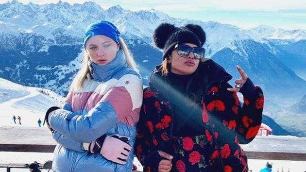 Sophie Turner and Priyanka Chopra both chose Moncler Grenoble for their ski trip to Switzerland with Joe and Nick Jonas.