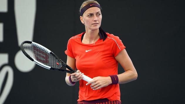 Czech Republic's Petra Kvitova reacts after a point in Sydney International.(AFP)