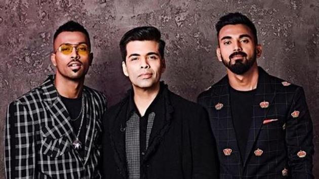 Hardik Pandya (left) and KL Rahul (right) with Karan Johar.(Karan Johar/Instagram)