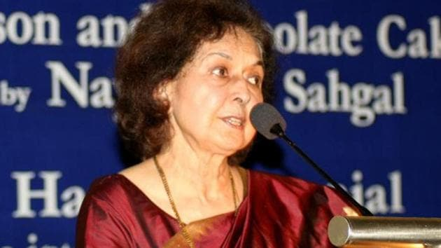 Nayantara Sahgal, 91, a recipient of the Sahitya Akademi award, had been invited by the Akhil Bharatiya Marathi Sahitya Mahamandal president Sripad Joshi as the chief guest and keynote speaker at the session, which she had accepted.(HT file photo)