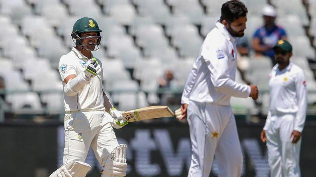 File image: South African batsman Dean Elgar (L) celebrates after South Africa defeated Pakistan on the fourth day of the second Test cricket match between South Africa and Pakistan at Newlands.(AFP)